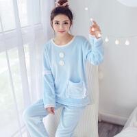 韩版法兰绒睡衣女长袖秋冬加厚珊瑚绒睡衣甜美可爱学生套装蕾丝