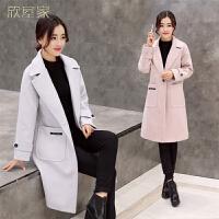 2018秋冬韩版修身毛呢外套女中长款加厚保暖呢子大衣