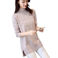 秋冬季韩版半高领套头毛衣女土中长款宽松针织打底衫加厚毛线裙子