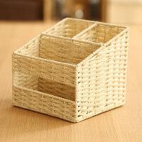 遥控器收纳盒手机分格储物筐办公桌面客厅茶几书桌纸巾盒编织篮子