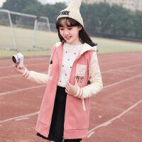少女冬装中长款外套加棉棒球服韩版中学生高中初中棉卫衣