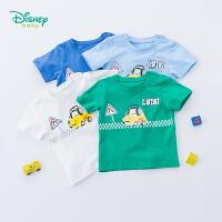 【99元3件】迪士尼Disney童装 男童印花t恤夏季新品儿童卡通印花短袖圆领纯棉衣服