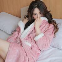 【12.12大促 两件五折】茉蒂菲莉 家居服 女士可爱加厚法兰绒长袖和服浴袍冬季新款韩版女式时尚休闲舒适睡衣