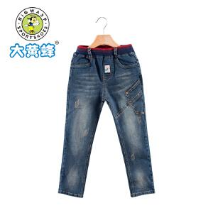 【618大促-每满100减50】大黄蜂童装 2017新款男童牛仔裤 中大童宽松儿童长裤 舒适时尚