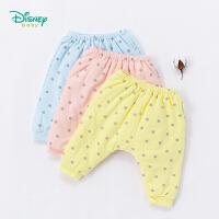 迪士尼Disney童装男女宝宝裤子秋冬新款波点夹棉长裤保暖卫裤184K795