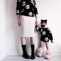 亲子装2018年童装嘴唇图案提花套头毛衣针织衫毛线衫纯棉母女装