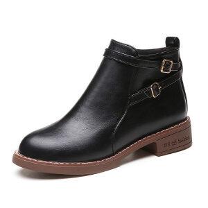 WARORWAR新品YM147-102-1秋冬英伦平底舒适女士靴子短靴马丁靴