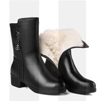 冬季新款妈妈棉鞋真皮羊毛女靴粗跟中筒靴加绒保暖冬鞋中老年棉靴SN8577