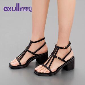 依思q夏新款凉鞋女时尚休闲罗马搭扣粗跟高跟女鞋子