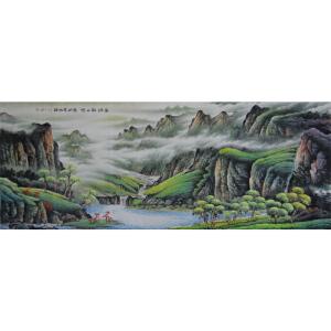 当代实力派画家  肖建   八尺  云烟飘山径 碧湖泉水清
