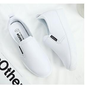 回力女鞋秋冬一脚蹬小白鞋女休闲鞋松糕厚底坡跟单鞋内增高乐福鞋