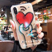透明蓝光8plus苹果x手机壳xs max爱心iphone7水钻滴胶6s/xr保护套