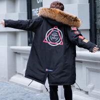 2018冬季男士大毛领修身韩版青年帅气潮牌羽绒服中长款大衣外套男 黑色