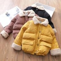 冬季新款女童翻领羊羔绒加厚拉链外套保暖棉袄面包服B6-A2