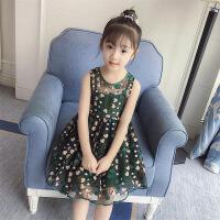 女童连衣裙夏2018新款网纱蕾丝小女孩刺绣背心吊带时髦洋气裙子 绿色
