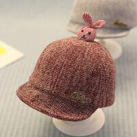 宝宝帽子秋女孩6-12个月鸭舌帽婴儿棒球帽男童秋冬1一2岁韩版0潮 酒红色 兔头 均码