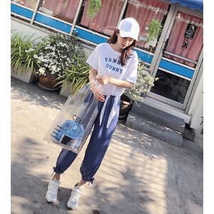 谜秀套装女2018夏装新款韩版休闲宽松T恤萝卜长裤网红两件套夏潮