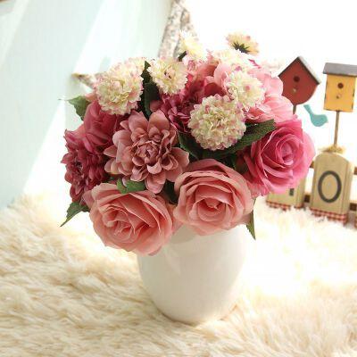 幸阁 超时尚淡雅仿真花大丽玫瑰束 GF15538 植物墙假花婚庆手捧花背景花墙摄影布景支付礼品卡 家里处处鸟语花香