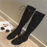 复古马丁靴女短靴女春秋2018骑士系带长筒靴马靴新款粗跟过膝绑带