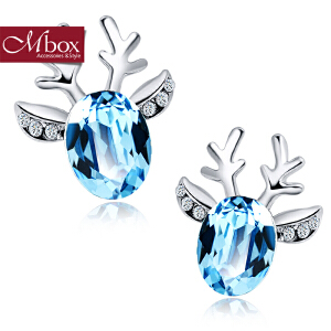 新年礼物Mbox耳钉 气质女韩国版采用施华洛世奇元素水晶耳钉耳环 小鹿吉祥