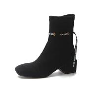 2018秋冬新款瘦瘦靴短靴女鞋粗跟中跟欧美女靴圆头骑士靴弹力短靴 黑色