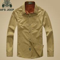 春季新款AFS JEEP战地吉普男长袖衬衣纯棉宽松纯棉衬衫1588
