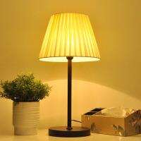 台灯卧室床头公主暖光创意可爱婚房简约个性中式布罩可调光led灯 按钮开关