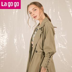 Lagogo2018春季新款时尚双排扣长袖风衣女中长款个性绑带修身外套HAFF332M31