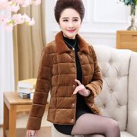 中老年妈妈冬装毛领小棉袄短款中年女装加厚保暖棉衣外套女