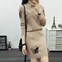 2018秋季新款女装名媛气质针织连衣裙两件套毛衣套装裙时尚潮学生