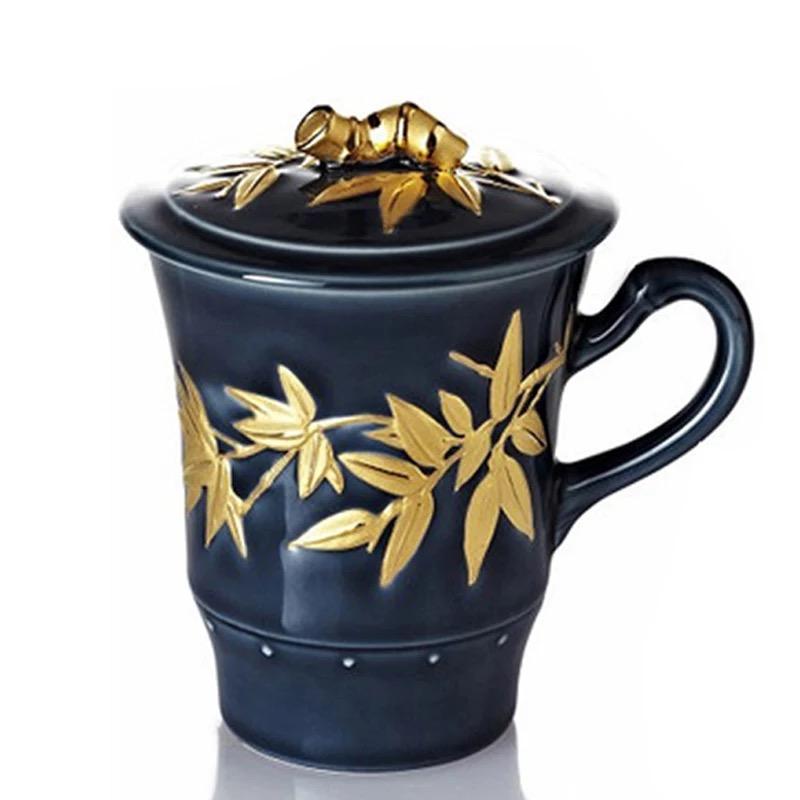 乾唐轩活瓷杯鎏金大竹节高杯360ml陶瓷茶水杯子带盖