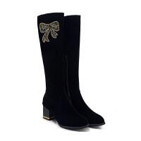 高筒靴子女冬季高跟鞋女2018新款韩版磨砂马丁靴女粗跟加绒女靴潮