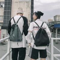 双肩包男抽绳超薄新款时尚潮流情侣个性纯色小书包可折叠斜跨背包