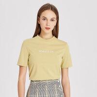 【1件2.5折到手价:32.3】纯棉MECITY短袖t恤女潮修身字母刺绣韩版打底半高领T恤