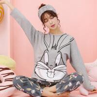 春秋季睡衣女士长袖卡通甜美套装时尚全棉休闲运动家居服秋天