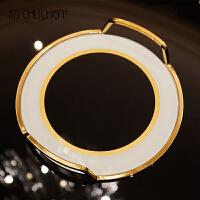 欧式简约样板间客厅茶几床上家居装饰品收纳圆形托盘实用摆件餐厅 圆形黑金玻璃托盘