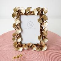 现代创意欧式美式复古金色叶子6寸婚纱照挂墙相框摆台画框装饰 6寸