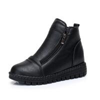 冬季内增高女鞋加绒皮面保暖侧拉链平底学生保暖短靴软底高帮棉鞋