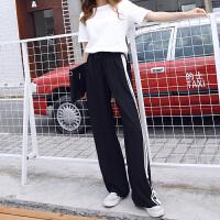 运动裤女薄款 韩版高腰显瘦宽松休闲黑色大码直筒阔腿长裤学生