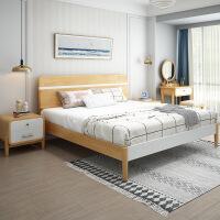 【限时直降3折】北欧日式极简全实木床软背 日式现代性价比小户型 1.5米1.8米婚床双人床