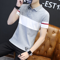 2018青年男士短袖拼色T恤衬衫领polo衫修身夏季男装半袖T恤潮翻领