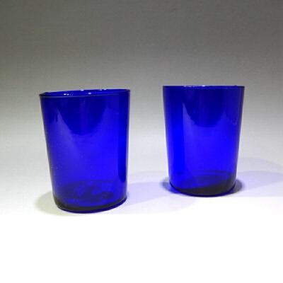 仿蓝宝石料杯一对