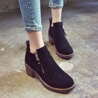 WARORWAR新品YM75-165冬季韩版磨砂反绒粗跟中高跟女士靴子切尔西靴短靴