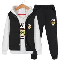 加厚加绒男童套装冬装2018新款童装潮装儿童中大童男孩三件套韩版
