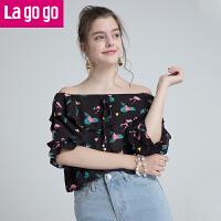 Lagogo2019夏季新款一字领碎花中袖印花漏肩系带时尚上衣雪纺衫女HASS304G79