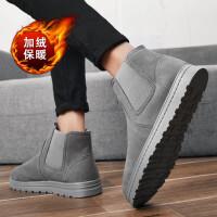 雪地靴男冬季加绒保暖棉鞋韩版短靴英伦风马丁靴懒人一脚蹬面包鞋
