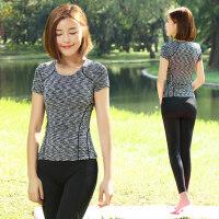 新款女健身运动紧身服百搭短袖女士瑜伽服T恤 高弹显瘦短袖瑜珈服上衣女