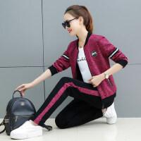 韩版显瘦卫衣三件套宽松彩棉开衫时尚休闲运动套装女