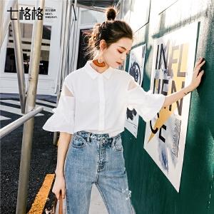 七格格白衬衫女春季2019新款韩版学生雪纺小清新上衣polo领宽松薄