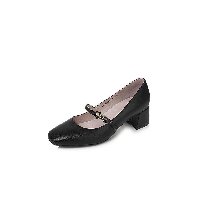 Tata/他她2017秋羊皮甜美花朵一字带玛丽珍鞋粗跟女皮鞋SLTH1CQ7
